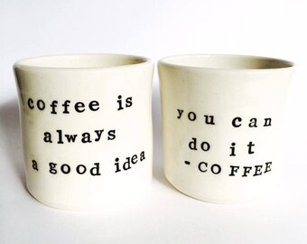 Coffee Mug, Coffee Cup, Cappuccino, Latte, Espresso, Porcelain, Pottery, Gifts for Dad, Made in Australia.