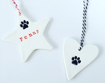 MADE TO ORDER, Personalised Pet Ornaments, ceramic ornament, dog's name, cat's name, pet accessories, cat lovers, Made in Australia