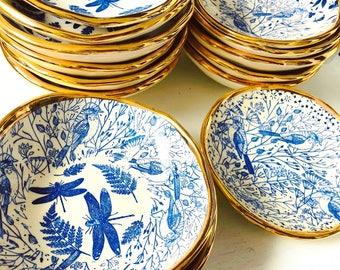 Ring Dish, Gold, Ceramics, Blue, Luxe, Jewellery Dish, Soap Dish, Tapas Dish, Made in Australia