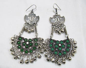 30c9aa1c3 Beautiful Afghani Earrings , Silver Oxidized Long Afghan Earrings With  Green Onyx Color Beads , Hoop Earrings , Indian Jewelry Gifts for her