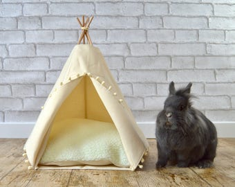 Rabbit bed, rabbit house, rabbit teepee, rabbit lover gift, guinea pig house, hedgehog bed, rabbit pet toys - solid ivory - pompom trim