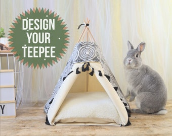 Pet bed, rabbit teepee, rabbit toys, rabbit house, hedgehog house, pet gift, guinea pig bed - design your own teepee - custom personalized