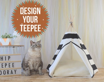 Pet bed, cat teepee, cat house, cat tree, pet furniture, cat bed, dog house, cat cave, dog bed - Custom design your own - personalized tent