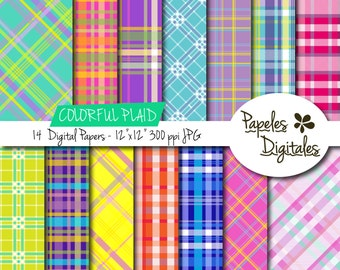 """Plaid Colorful Digital Paper Pack in Brights / Bright Printable Backgrounds - 14 Colors / Sheets - Instant Download 12""""x12"""" JPG 300 dpi"""