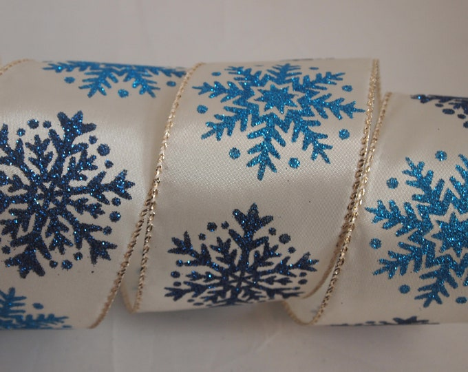 5 Yards Ivory Blue Snowflake 2 12 Wired Ribbon Christmas Winter Wreath Lantern Bow Floral Home Decor