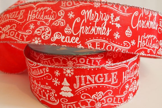 5 Yards Red White Candy Cane Glitter Stripe 1 12 Wired Ribbon Christmas Tree Wreath Lantern Bow Gift Floral Home Decor 5 yds