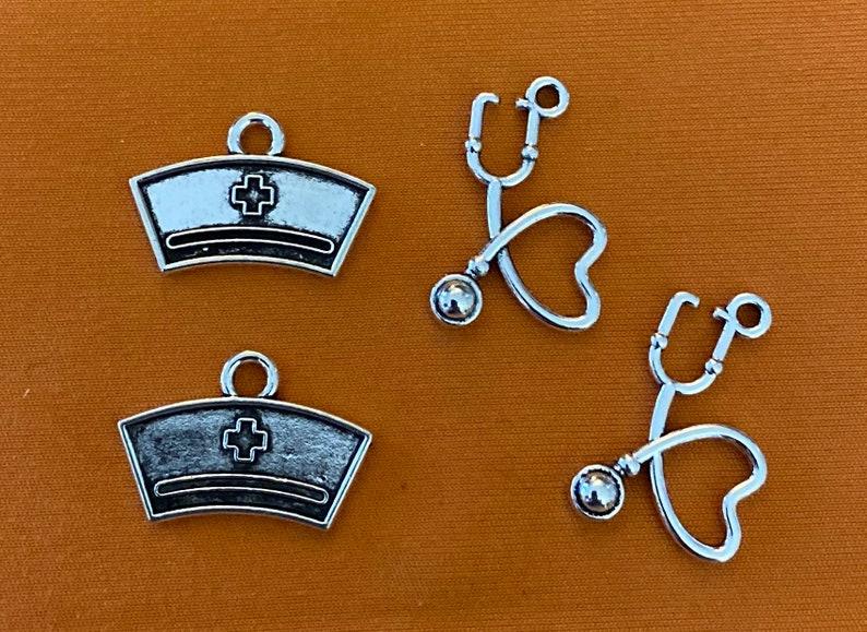 nurse hat charm Nurse charms for keychains stethoscope charm