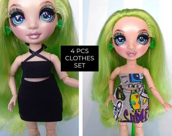 Rainbow Fashions High Doll Clothes Set, SKIRT and TOP (4 pcs)