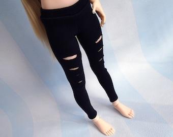 MSD BJD Clothes, Black Ripped Pants, Leggings for Minifee