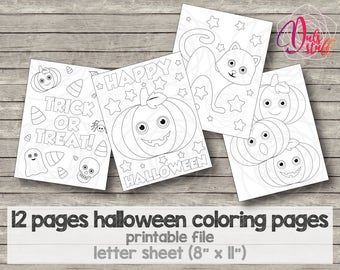 Halloween coloring pages, ghost, pumpkin, witch, bat