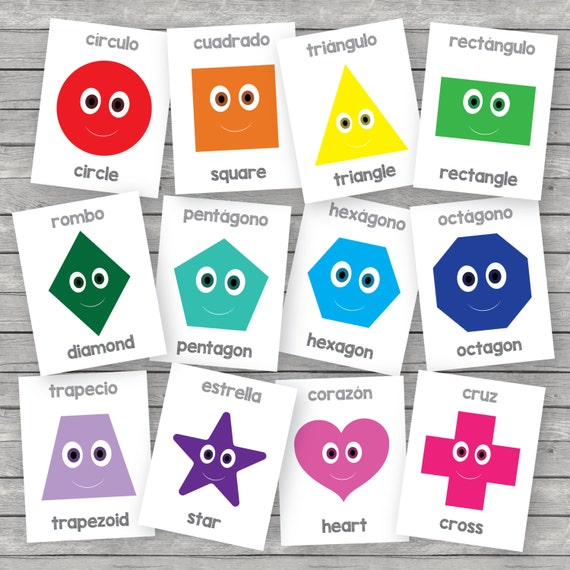 picture about Printable Shape Flashcards known as Printable youngsters condition flashcards, english-spanish
