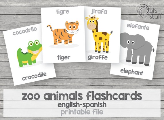 graphic relating to Spanish English Flashcards Printable known as Printable small children zoo pets flashcards, english-spanish by means of