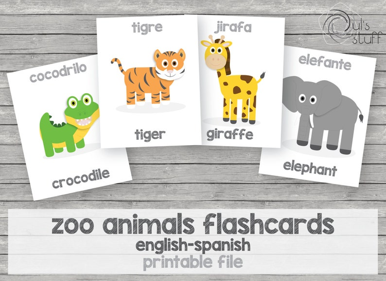 graphic relating to Spanish to English Flashcards With Pictures Printable identified as Printable small children zoo pets flashcards, english-spanish