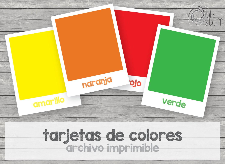 Tarjetas de colores imprimibles para niños en español | Etsy