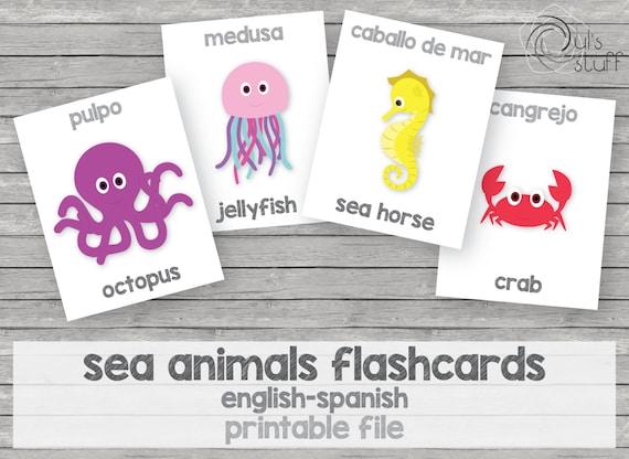 Tarjetas de animales del mar imprimibles para niños | Etsy