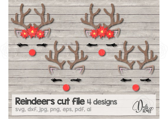 Christmas Reindeer Svg Christmas Reindeer Cricut Christmas Reindeer Silhouette Cut File Svg Dxf Jpg Png Eps Pdf Ai By Dul S Stuff Catch My Party