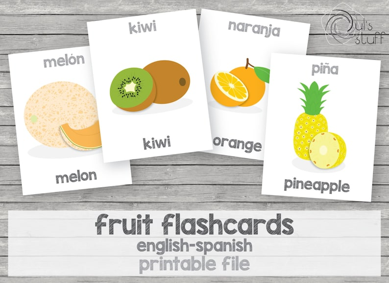 picture regarding Spanish English Flashcards Printable named Printable small children fruit flashcards english-spanish