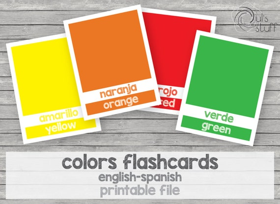 picture relating to Spanish to English Flashcards With Pictures Printable identify Printable children hues flashcards, english-spanish by means of Duls
