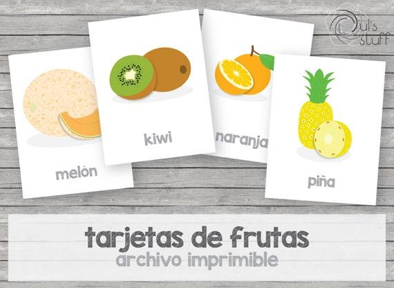 Tarjetas de frutas imprimibles para niños en español | Etsy