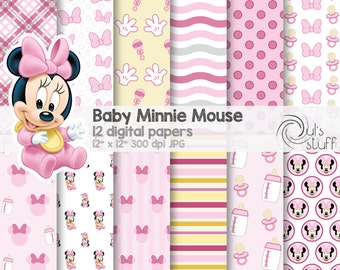 "Baby Minnie Mouse pink digital paper pack, instant download, 12"" x 12"""