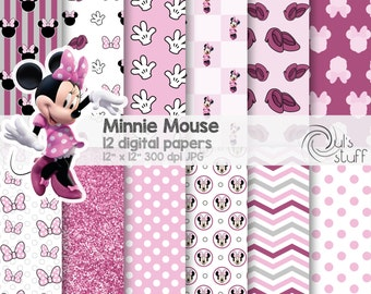 "Minnie Mouse pink digital paper pack, instant download, 12"" x 12"""