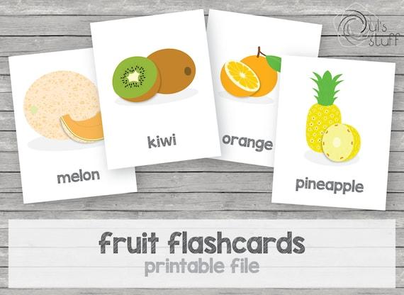 Tarjetas de frutas imprimibles para niños en inglés | Etsy
