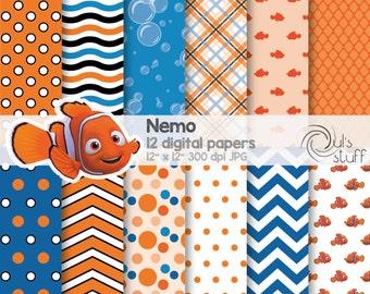"Nemo, digital paper pack, instant download, 12"" x 12"""