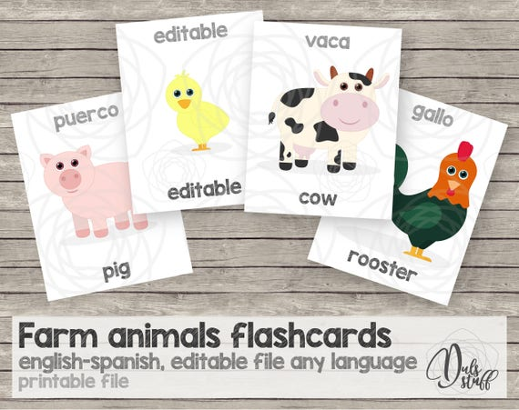 photo relating to Printable Toddler Flash Cards titled Printable little ones farm pets flash playing cards, english and spanish