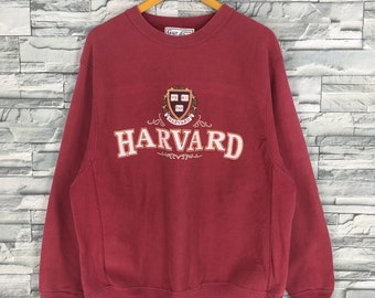 e7f8b3b29 Vintage 80 s UNIVERSITY HARVARD Unisex Jumper Large Streetwear Harvard  Spell Out Pullover Red Pullover Sweaters College Sweatshirts Size L