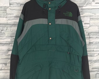 d2c5b7cb799 Vintage The NORTH FACE Jacket Mens XLarge North Face Ski Wear Green Black Jacket  Hoodie 90s Skiing Hooded Jacket Bomber Size XL
