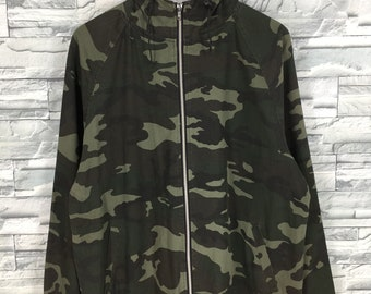 1c0d5284c27a Camouflage Hoodie Jacket Unisex Large Vintage 90 s Camo Us Woodland Pattern  Hunting Outerwear Coats Camo Sweater Jacket Zipper Size L
