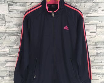 4bb226bcaa3d ADIDAS Jacket WindbreakeUnisex Medium Vintage 90 s Adidas Pink Three  Stripes Track Top Sportswear Black Trainer Jacket Size M