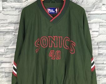202c28e2af33 Sonics Shawn KEMP  40 NBA Jacket Xlarge Team Seattle SuperSonics Basketball  Nba Sports Nba Green Training Wear Jacket Pullover Size XL