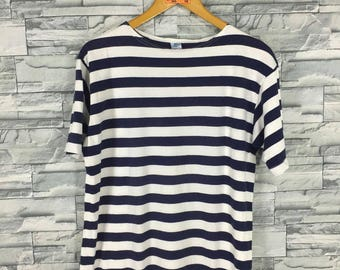 10280229aa Vintage Jail Prison Striped tshirt Medium 90 s Border Stripes Rockabilly  Grunge Surfer White Black Tee Skater T shirt Size M