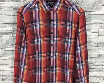 36028a516 Vintage Flannel Shirt Women Large Plaid Shadow Checkered Tartan Red  Multicolor Hipster Minimalist Grunge Oxfords Button Up Blouse Size L