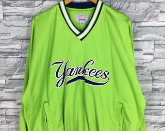 6ab217324 NY YANKEES Pullover Jacket Xlarge Mens Vintage Baseball Team Mlb Starter  New York Yankees Baseball Polyester Sweatshirt Green Neon Size XL