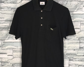 0f797731c76a42 LACOSTE Polo Shirt Medium Mens Vintage 1990 s Chemise Lacoste Casual  Streetwear Lacoste French Black Polos Shirt Buttons Mens Size M