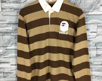61f0d51c A BATHING APE Polo Rugby Shirt Small Nigo Japan Bape Streetwear Border  Stripes Ape Shall Never Kill Ape Long Sleeves Shirt Polos Size S