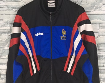 89658d2ca400 ADIDAS France Track Top Jacket Medium Vintage 90 s Adidas France World Cup  Football Casual Windbreaker Adidas Sport Black Coat Size M
