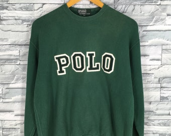 98c962fdf Vintage 90 s Polo RALPH LAUREN Sweater Jumper Green Medium Ralph Lauren  Spell Out Pullover Polo Rl 67 Polo Crewneck Sweatshirt Size M