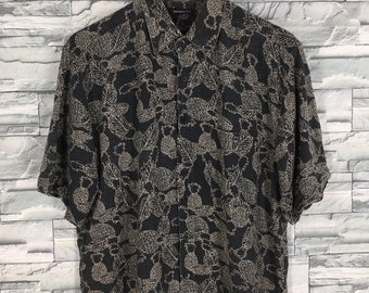 dea027d04 HAWAIIAN SILK Shirt Large Vintage Floral Leaves Printed Honolulu Usa Hawaii  80's Beach Wear Surf Aloha Tropical Black Button Down Size L