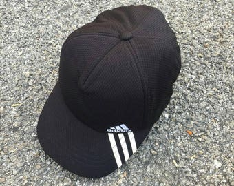 fec3538fa19 ADIDAS Baseball Cap Vintage 90 s Adidas Sportswear Trucker Cap Adidas  Equipment Cap Adidas Three Stripes Adjustable Size Cap Black