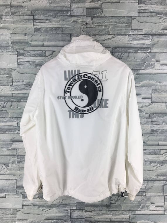 T C SURF Design Men Windbreaker Large White Vintage 90 s  4806d09f29a