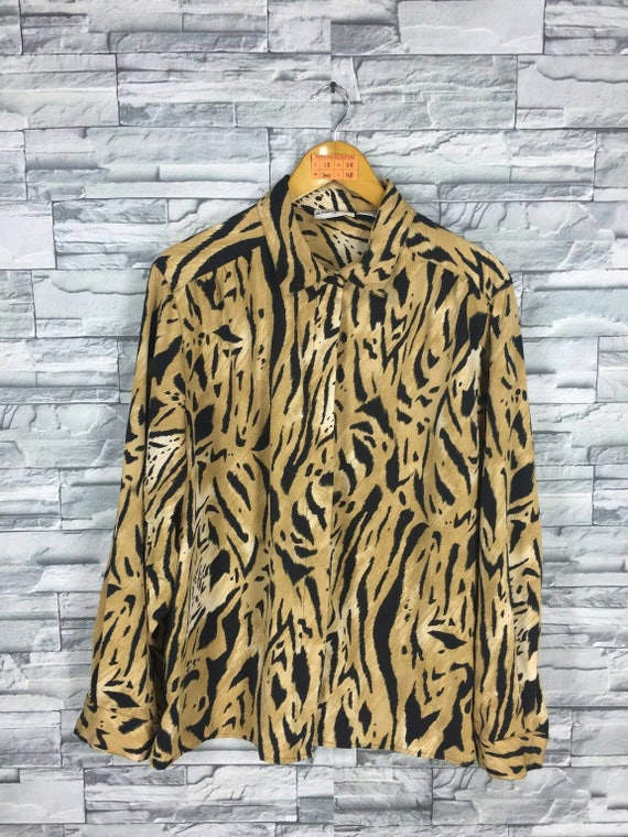 Vintage Alfred Dunner Blouse Ladies Large Pop Art Cheetah Etsy