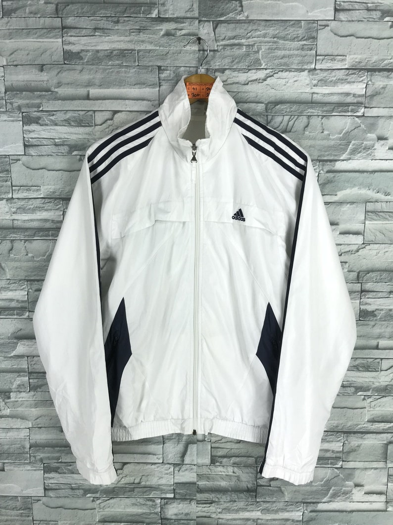 ADIDAS Jacket Windbreaker Mens Medium Vintage 90's Adidas Equipment Three Stripes Track Top Sportswear White Training Coat Size M