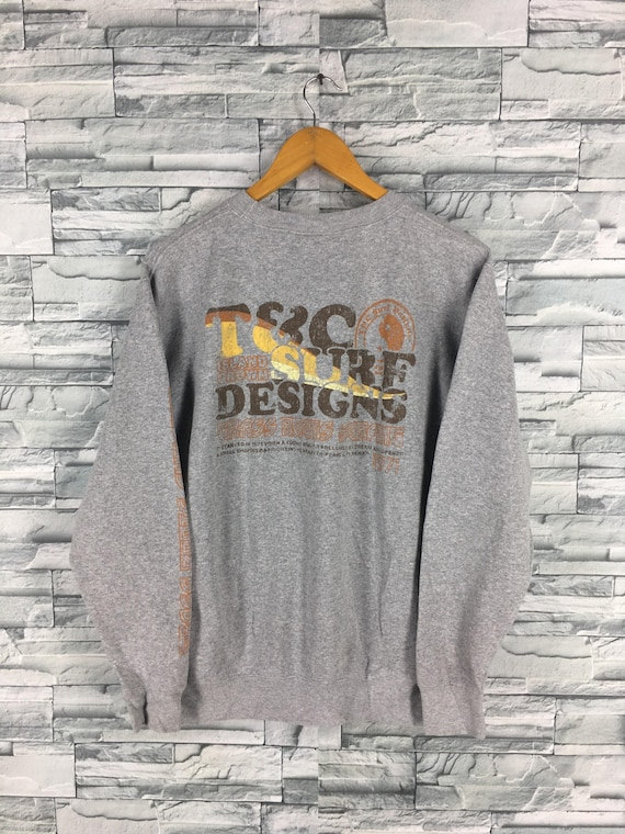 T C SURF Design Men Medium Jumper Gray Crewneck Vintage  8659de027da