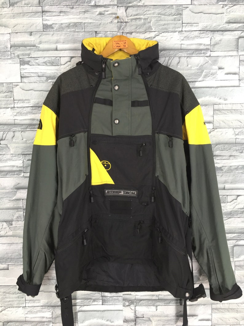 7552430f3 Vintage The NORTH FACE Jacket Mens XLarge North Face Steep Tech Ski Wear  Multicolour Jacket Hoodie 90s Skiing Hooded Jacket Bomber Mens XL