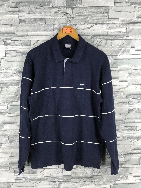 Vintage Nike Polo Shirt Nike Sport 1990s Nike Stripes Blue Etsy