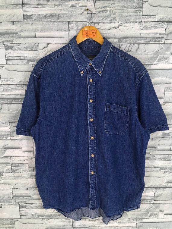 b10940adb8a EDDIE BAUER Denim Shirt Large Mens Vintage 90 sEddie Bauer