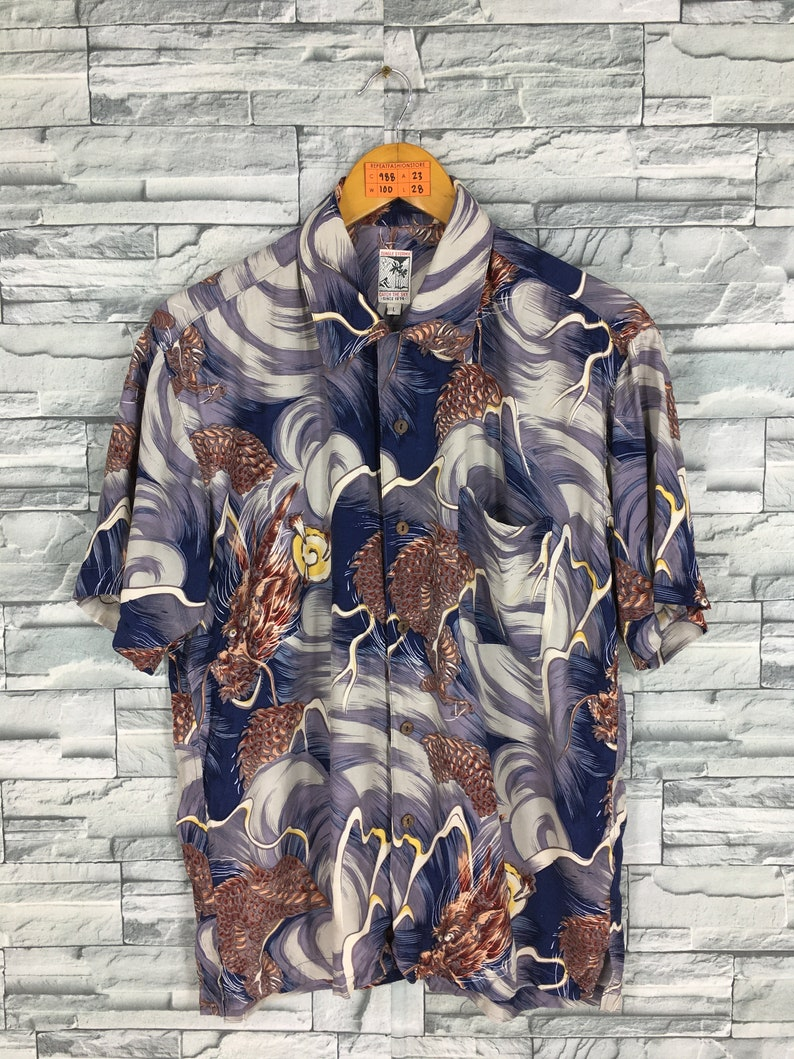 2306a2ec JUNGLE STORM Hawaiian Rayon Shirt Large Vintage Asean Pattern | Etsy